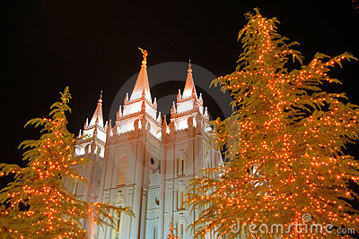 Christmas lights and church temple #3
