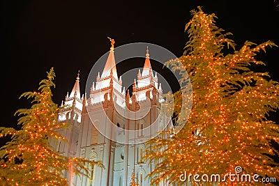 Christmas lights and church temple #3
