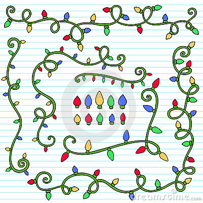 Christmas Lights Decoration Notebook Doodles Set