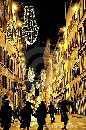 Christmas lights in Florence, Italy Editorial Photography