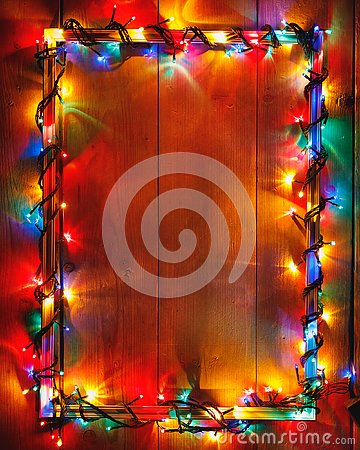 Free Christmas Lights Frame On Wooden Background Stock Photo - 127804120