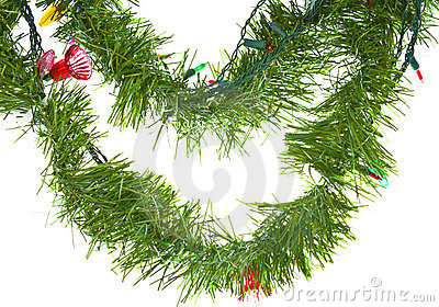 Christmas lights in garland isolated on white