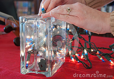 Christmas Lights in a Glass Block