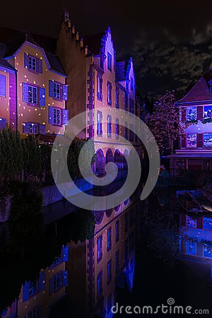 Free Christmas Lights In The Night Of Colmar Royalty Free Stock Photo - 107311735