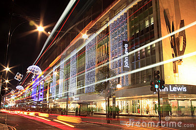 Christmas Lights In Oxford Street At Night Editorial Stock Image ...