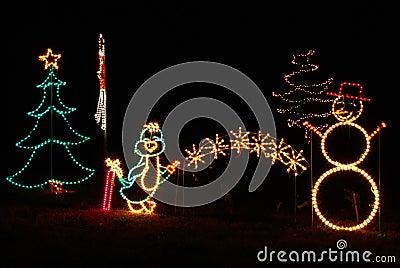 Christmas Lights Penguin Snowman Tree Royalty Free