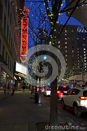Christmas lights Seattle downtown night Editorial Stock Image