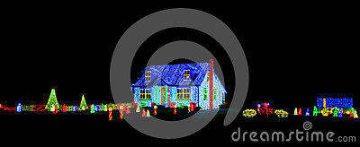 Christmas Lights Show Display on House and Yard
