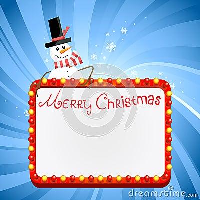 Christmas lights with snowman