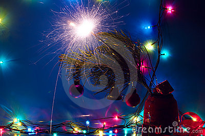 Christmas lights and sparkler