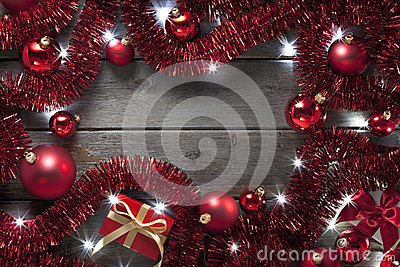 Christmas Lights Tinsel Background