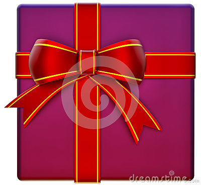 Christmas lilac gift with red ribbon and bow
