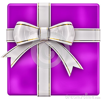 Christmas lilac gift with white ribbon and bow