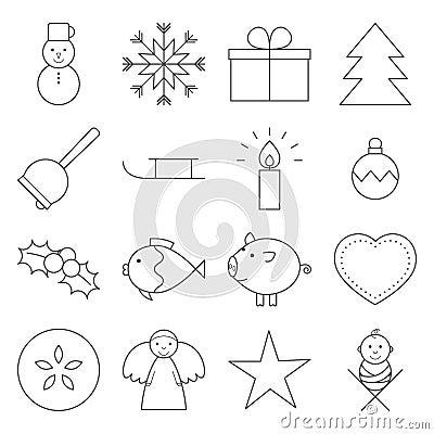 Free Christmas Line Icons Stock Photo - 44295520