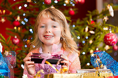 Christmas - little girl with Xmas present