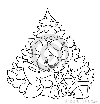 Christmas  little teddy-bear tree gift coloring pa