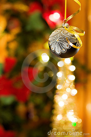 Christmas magic night with silver bauble