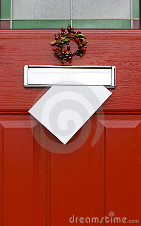 Christmas mail post red door.