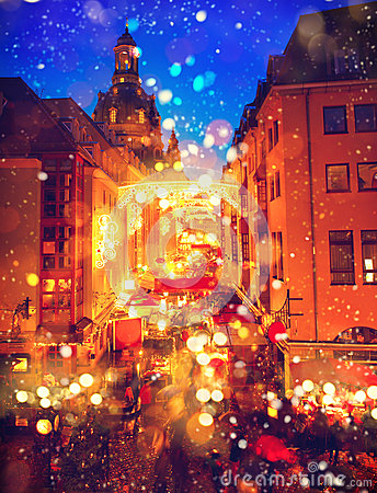 Free Christmas Market In An Old European Town Royalty Free Stock Photos - 63705238
