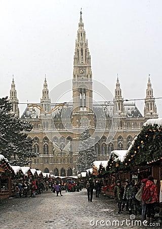 Christmas Market at Rathaus Vienna City Hall Editorial Stock Photo