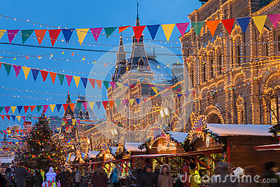 Christmas market at the Red Square, Moscow, Russia Editorial Stock Image