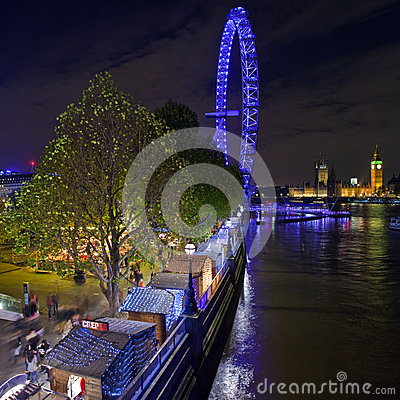 Christmas Market on the South Bank in London Editorial Stock Image