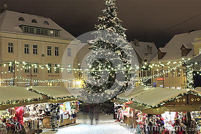 Christmas market in Tallinn Editorial Stock Image