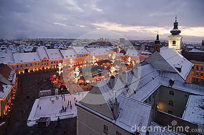 Christmas market, tree and lights in Sibiu