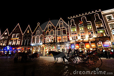 Christmas in Markt sqaure, bruges Editorial Stock Image