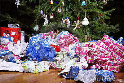 After Christmas Mess Landscape Royalty Free Stock Image - Image: 21794546