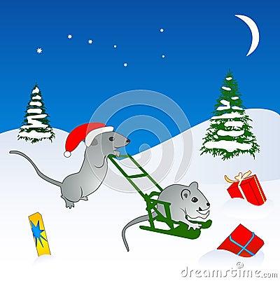 Christmas mice illustration