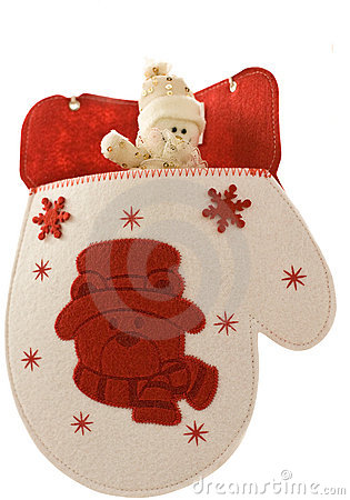 Christmas mitten with little snowman