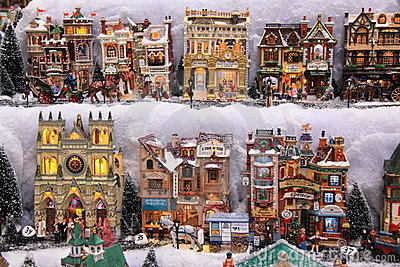Christmas models small houses Editorial Stock Image