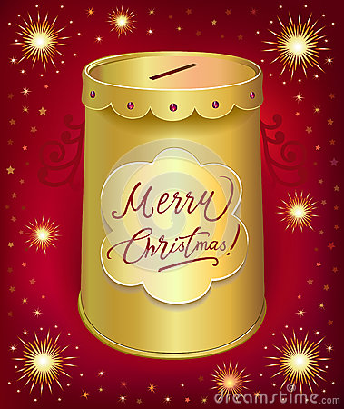 Christmas moneybox tin can