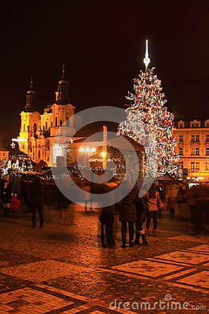 Christmas Mood on the colorful night Old Town Square, Prague, Czech Republic