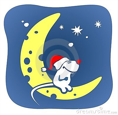Christmas mouse and moon