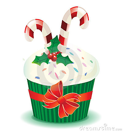 Christmas muffin with candy canes
