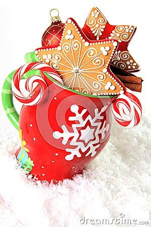 Free Christmas Mug And Cookies Stock Photography - 35496262