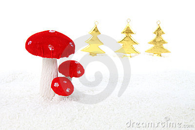 Christmas mushroom in forest scene