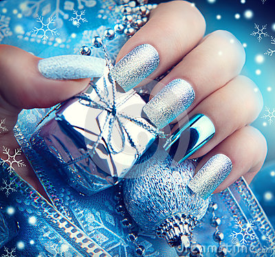 Free Christmas Nail Art Manicure. Winter Holiday Manicure Design Stock Images - 63705154