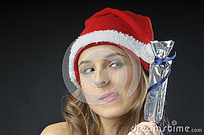 Christmas naked girl  covered  gift