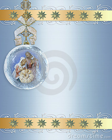 Christmas Nativity ornament gold border