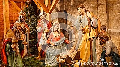 Christmas Nativity Scene: Baby Jesus, Mary, Joseph