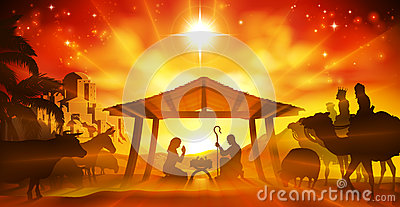 Christmas Nativity Scene Vector Illustration