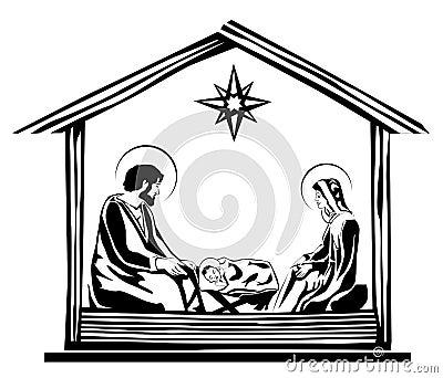 Christmas Nativity Scene Vector Illustration