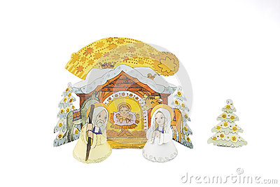 Paper cut-outs Nativity scene - Christamas crib on a white background.