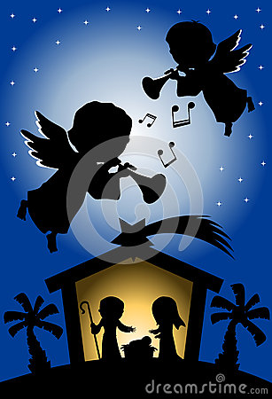Christmas Nativity Scene Silhouette with Angels