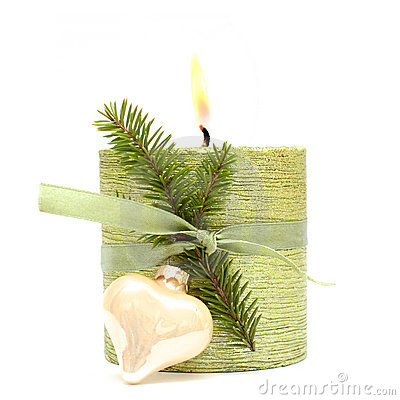 Christmas or New Year candle, ribbon and fir