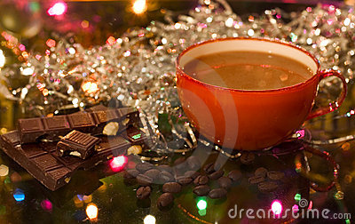 Christmas (new year) cup of coffee
