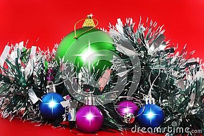 Christmas,  New Year decoration- balls, tinsel.